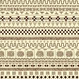 För traditionellt etniskt afrikanskt sömlös modell mudclothtyg för beiga och för brunt, vektor Arkivfoton