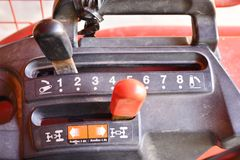 För traktorväxelspak för tre hastighet knopp royaltyfri bild
