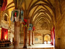 För transylvania för Corvin slotthunedoara gotisk historia huniazilor royaltyfria foton