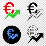 För trendvektor för euro växande symbol för EPS med konturversion stock illustrationer