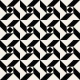 För triangelfyrkant för vektor geometrisk modell för sömlös svartvit spiral Arkivfoton