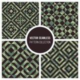 För Truchet för vektor sömlös grön samling geometrisk modell Royaltyfri Fotografi