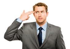 För tryckhuvudvärk för affärsman som stressat bekymmer isoleras på w-hite Royaltyfri Bild