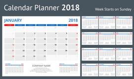 för tryckmallen för 2018 kalender veckan startar uppsättningen för den söndag ståenderiktningen av 12 månader stadsplanerare för  royaltyfri illustrationer