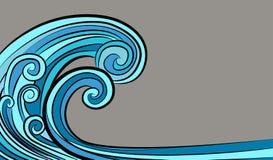 För tsunamivåg för hav tidvattens- teckning stock illustrationer