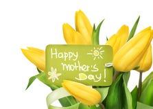 För tulpanblomma för mors dag gul grupp Fotografering för Bildbyråer