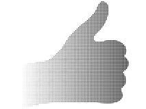 för tummehand för halvton ner prucken logo Arkivfoto
