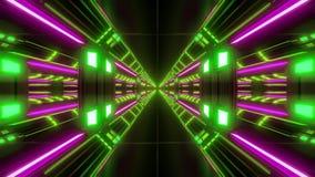 För tunnelkorridor för futuristisk scifi airhangar vjloop med trevligt glöd och reflexioner 3d som framför bakgrund royaltyfri illustrationer