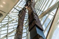 för tvillingbroderpelaren för 9 11 New York City kolonnen fördärvar förstört Fotografering för Bildbyråer
