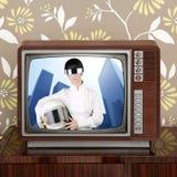 för tvtappning för contrast framtida futuristic retro kvinna Royaltyfria Bilder