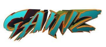 För typdesign för GAINZ 3D illustration med den snabba banan Fotografering för Bildbyråer