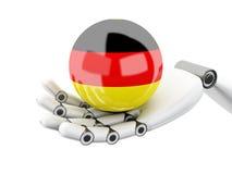 för Tysklandflagga för Robotic hand 3d hållande symbol Fotografering för Bildbyråer