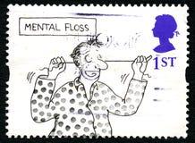För UK-porto för mental Floss rolig stämpel Royaltyfria Bilder