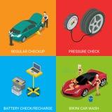För undersökningtryck för bil tjänste- vanligt batteri för kontroll Royaltyfria Foton