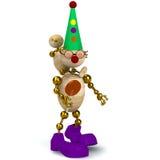 för ungeman för clown 3d trä Arkivfoton