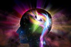För universuminspiration för mänskligt huvud andlighet för medvetenhet för insikt royaltyfri illustrationer