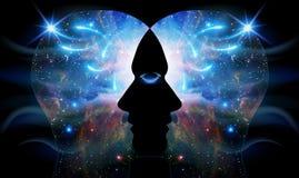För universuminspiration för mänskligt huvud medvetenhet för enhet för insikt vektor illustrationer