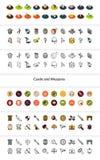 För uppsättning av symboler i olik stil - isometriska för otline, färgade och svarta versioner för lägenhet och Royaltyfria Foton