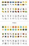 För uppsättning av symboler i olik stil - isometriska för otline, färgade och svarta versioner för lägenhet och Arkivbild
