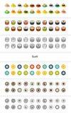 För uppsättning av symboler i olik stil - isometriska för otline, färgade och svarta versioner för lägenhet och Arkivfoto