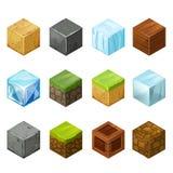 För uppsättningbeståndsdelar för isometriska kuber stor natur Arkivfoton