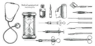 För uppsättninghand för medicinsk utrustning stil för tappning för teckning vektor illustrationer