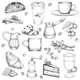 För uppsättningvektor för kaffe och för bakelser stor illustration arkivbild