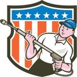 För USA för Blaster för tryckpackningsvatten tecknad film flagga Arkivfoto