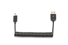 För USB för svart vår utsträckbar mini- kabel för uppladdare för synkronisering data royaltyfria bilder