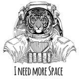 För utrymmedräkt för lös tiger bärande för Spaceman Galaxy för astronaut för löst djur dragen illustration utforskning hand för t Royaltyfri Bild