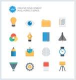 För utvecklingslägenhet för PIXEL perfekta idérika symboler Arkivfoton