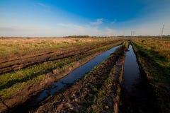 för vägbrunst för fält fullt vatten Fotografering för Bildbyråer