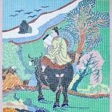 För väggmosaik för kinesisk stil tegelplattor Arkivbilder