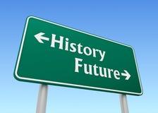 För vägmärkebegrepp 3d för historia framtida illustration Arkivfoton