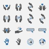 För välgörenhetsymbol för två signal uppsättning vektor stock illustrationer