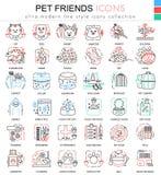 För vänfärg för vektor älsklings- linje översiktssymboler för apps och rengöringsdukdesign Hem- djurhusdjursymboler royaltyfri illustrationer
