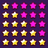 För värderingsstjärnor för utrymme modiga knappar för symboler Arkivbilder