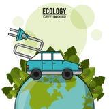 För världsbil för ekologi grönt begrepp för elkraft för transport för medel stock illustrationer