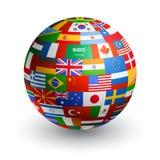 För världsflagga för vektor 3D jordklot stock illustrationer