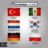 För världsflagga för vektor geometrisk polygonal samling Royaltyfri Bild