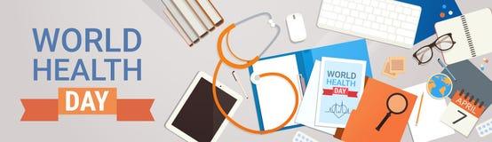 För världshälsa för medicinsk doktor Workplace Top View begrepp för dag royaltyfri illustrationer