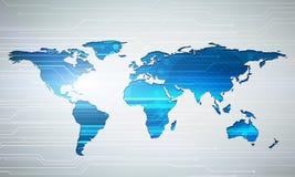 För världskartateknologi för Digital bild begrepp med strömkretsmicrochi Arkivbild