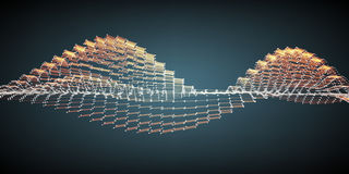 För vågingrepp för abstrakt vektor orange bakgrund Punktmolnsamling Kaotiska ljusa vågor Arkivbilder