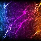 För vågingrepp för abstrakt vektor violett bakgrund Punktmolnsamling Kaotiska ljusa vågor Teknologisk cyberspacebakgrund Fotografering för Bildbyråer