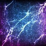 För vågingrepp för abstrakt vektor violett bakgrund Punktmolnsamling Kaotiska ljusa vågor Teknologisk cyberspacebakgrund Royaltyfria Foton
