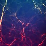 För vågingrepp för abstrakt vektor violett bakgrund Punktmolnsamling Kaotiska ljusa vågor Teknologisk cyberspacebakgrund Royaltyfri Foto