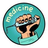 För vaccineringsymbol för medicin doktor skjutit emblem för cirkel för symbol stock illustrationer