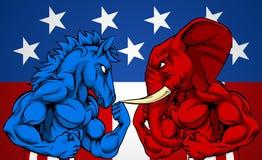 För valbegrepp för politik amerikansk åsna vs elefant vektor illustrationer