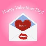 För valentin` s för vykort lycklig dag kuvert med röd hjärta och stock illustrationer