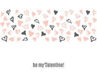 För valentindag för vektor lycklig mall för klotter med hand drog hjärtor Royaltyfri Illustrationer